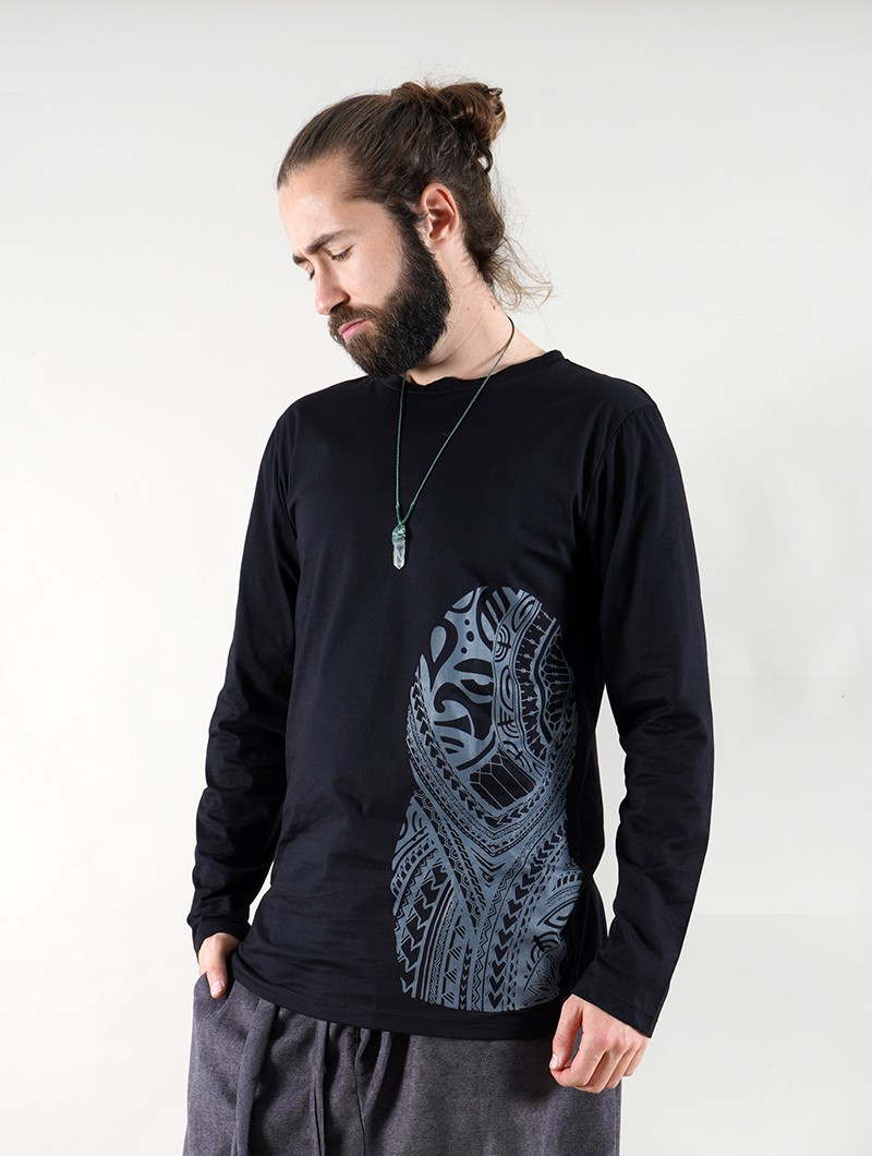 """Dogon Bumi Maori\"" long sleeve t-shirt, Black"