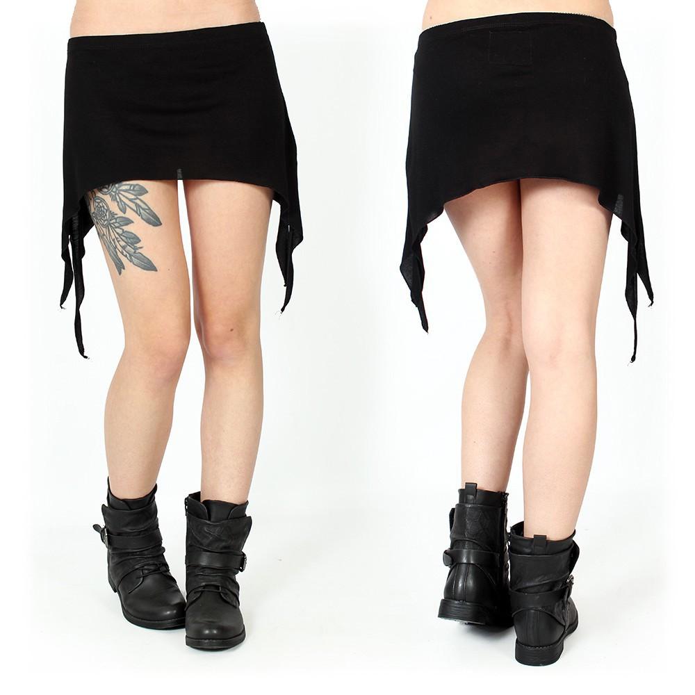 "\""Double Pointed\"" mini skirt , Black"