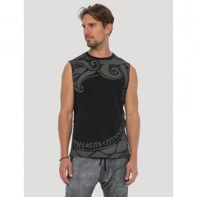 "\""Dragon\"" sleeveless T-shirt, Black"