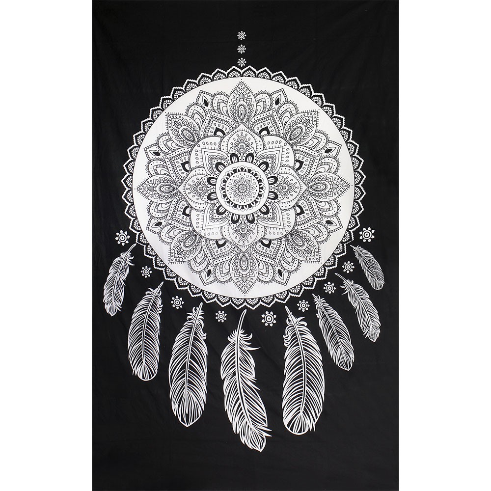 Dream catcher hanging black and white
