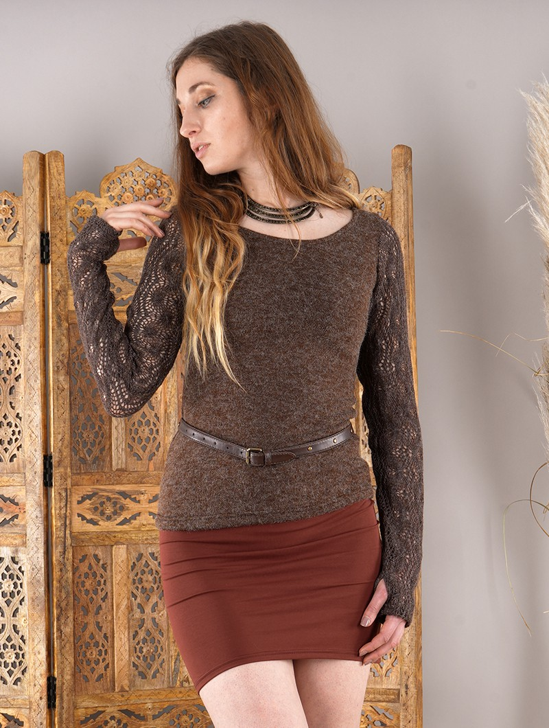 """Duinhir\"" waist belt, Brown faux leather"