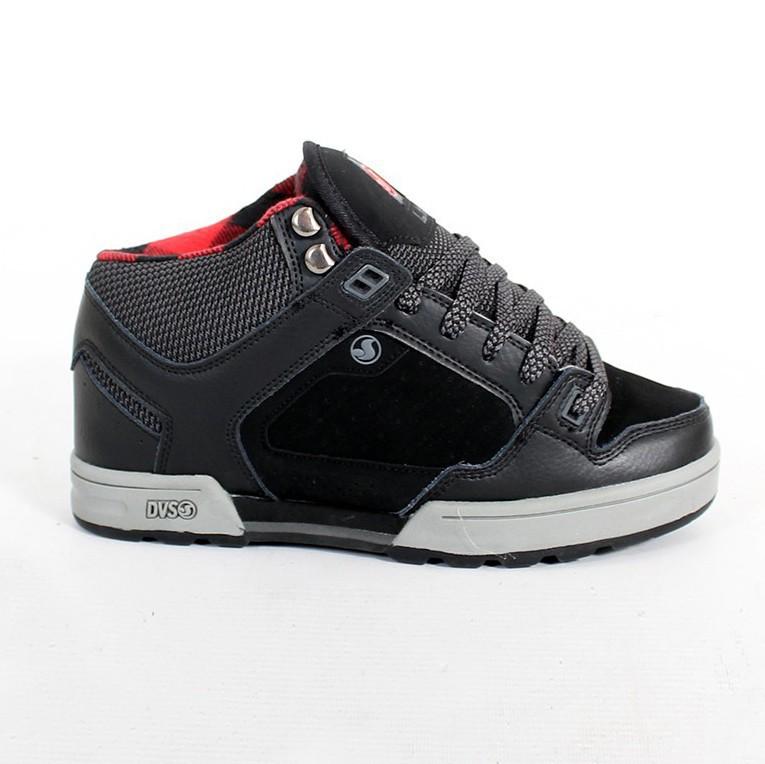 ece74e51605 DVS Militia Boots, Black leather and Tartan pattern inside
