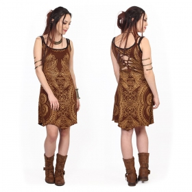 """Electra Paisley\"" dress, Brown with golden prints"