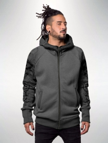 """Elemental\"" zipped hoodie, Mottled grey"