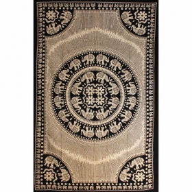 """Elephant Mandala\"" Hanging, Beige and black"