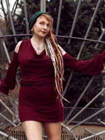 "\""Elixir\"" bare shoulder sweater dress, Wine"
