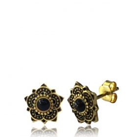 "\""Enakshi Onyx\\\"" Brass earrings"
