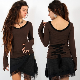 """Eo-Lüne\"" pullover top, Brown and Black"