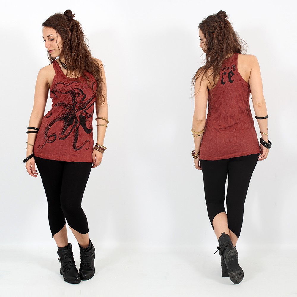 "\""Eyed Fatma hand\\\"" tank top, Dark red"