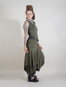 "\""Ezra\"" sleeveless long dress, Khaki green"