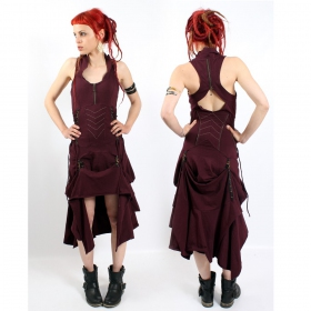 "Fairy floss \""steam goth\\\"" dress, burgundy"