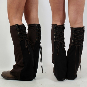 Fairy Floss legwarmers, Brown and black