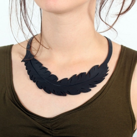 "\""Feather\\\"" inner tube necklace"