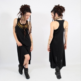 "\""Feather neck\\\"" asymmetric dress, Black and gold"