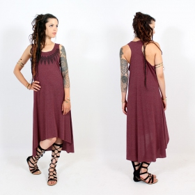 "\""Feather neck\\\"" asymmetric dress, Mottled wine and black"