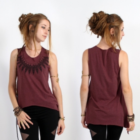 "\""Feather neck\\\"" asymmetric top, Mottled wine and black"