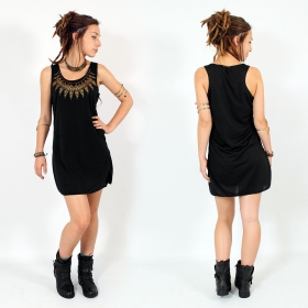 """Feather neck\"" dress, Black and gold"