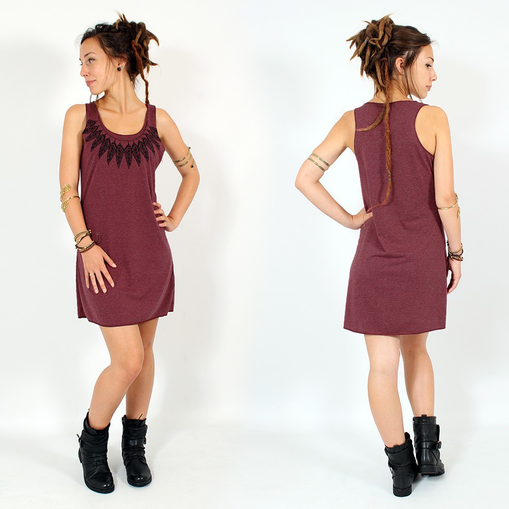 "\""Feather neck\\\"" dress, Mottled wine and black"