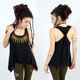 ""\\""""Feather neck\"""" knotted tank top, Black and gold""280|280|?|en|2|ff48624edd11768e1d52d99e1f31532d|False|UNLIKELY|0.3333767354488373