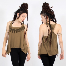 "\""Feather neck\\\"" knotted tank top, Brown and black"