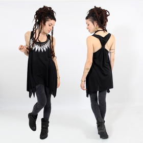 "\""Feather neck\\\"" knotted tunic, Black and silver"