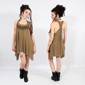 "\""Feather neck\\\"" knotted tunic, Brown and black"