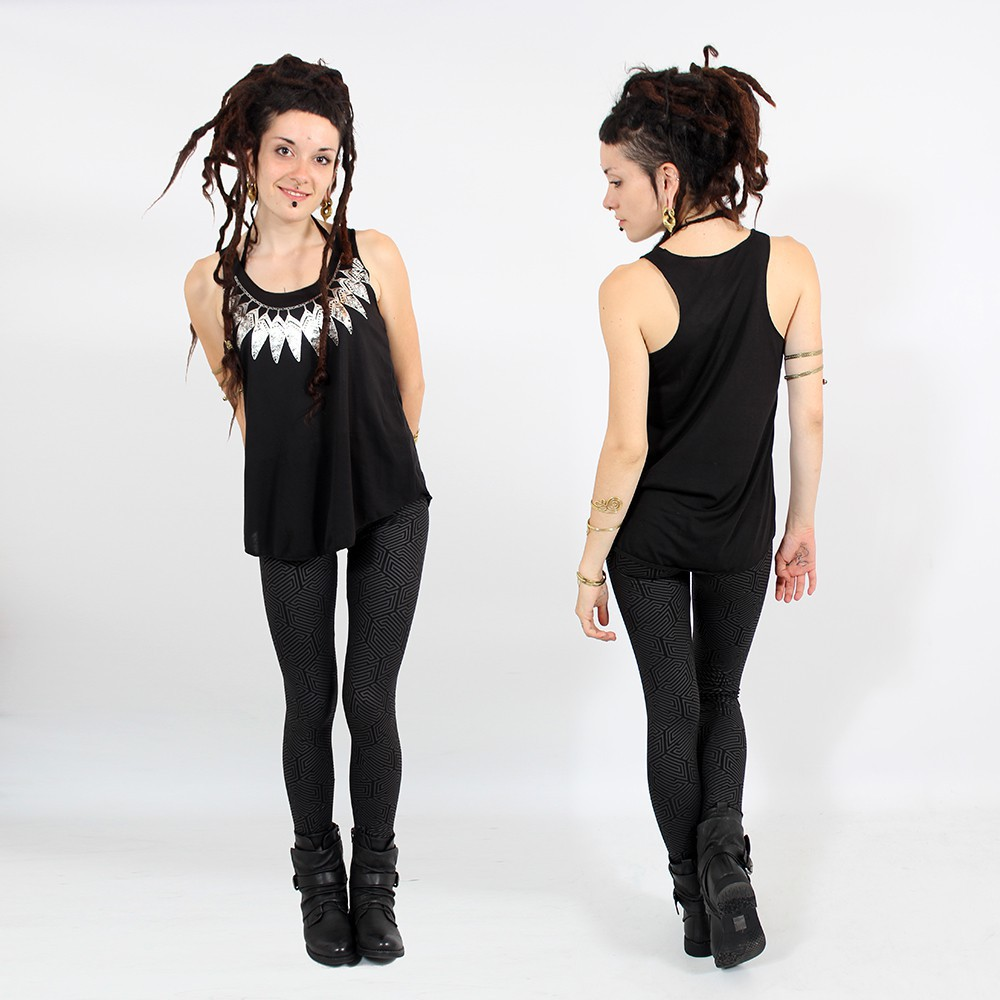 """Feather neck\"" tank top, Black and gold"