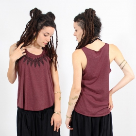 "\""Feather neck\\\"" tank top, Mottled wine and black"