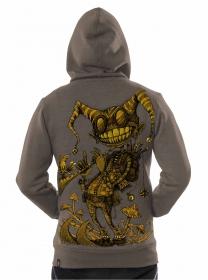 "\""Fiddler\"" zipped hoodie, Mottled brown"