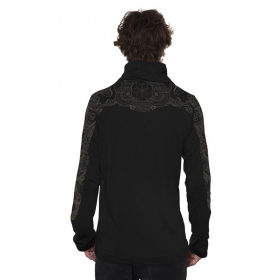 """Floral Mach\"" long sleeved shirt, Black"