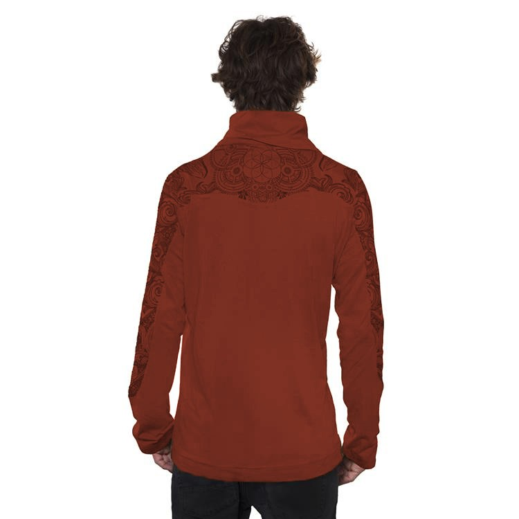 """Floral Mach\"" long sleeved shirt, Orangish brown"