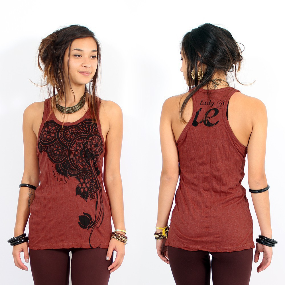 "\""Flower\\\"" tank top, Dark red"