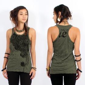 "\""Flower\\\"" tank top, Khaki"