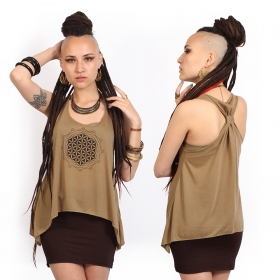 """Flower of Life\"" knotted tank top"