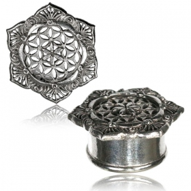 "\""Flower of life Lotus Pali\\\"" brass plug"
