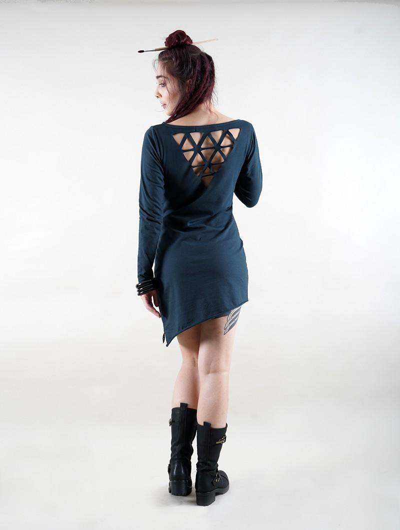 "\""Fringga\"" long sleeve dress, Teal blue"