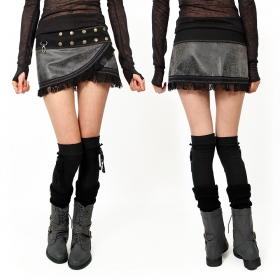 """Funky wrap\"" Skirt, Black and grey fake leather"