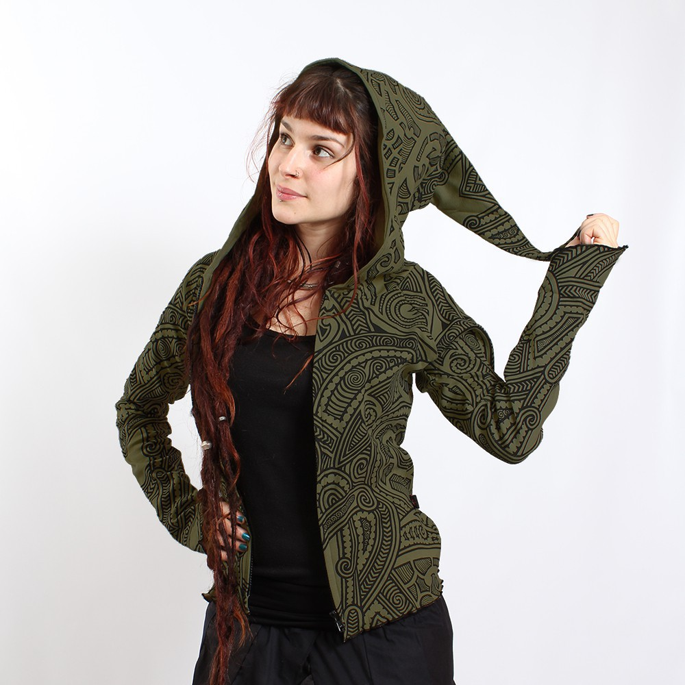 "GadoGado Light dwarfhood jacket ""Kamini Mao\"", Khaki"