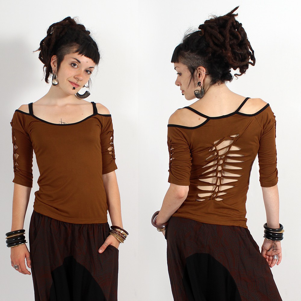 "GadoGado Top ""Sedna Plain\"", Plain golden brown"