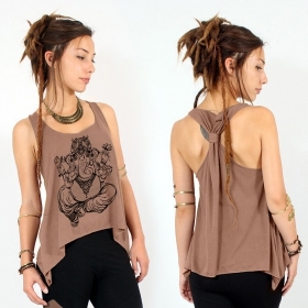 """Ganesh\"" knotted tank top, Brown and black"
