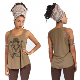 """Ganesh\"" tank top, Brown and Black"