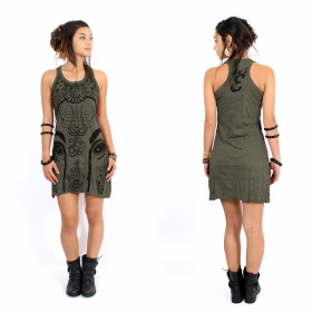 """Ganesh Eye\"" dress, Khaki"