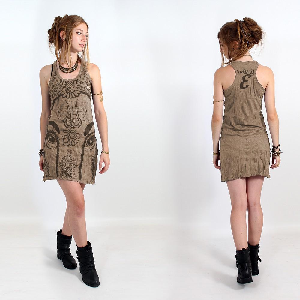 "\\\""Ganesh Eye\\\"" dress, Light brown"