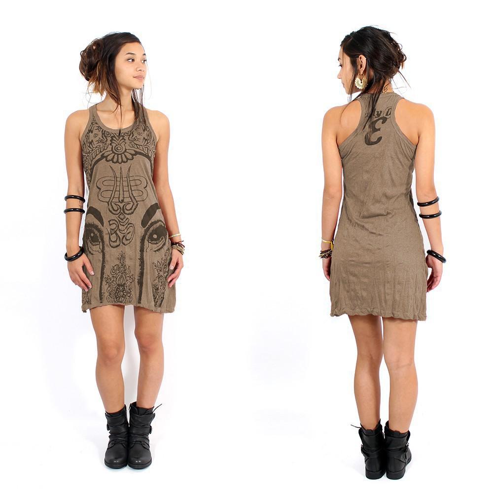 "\""Ganesh Eye\"" dress, Light brown"