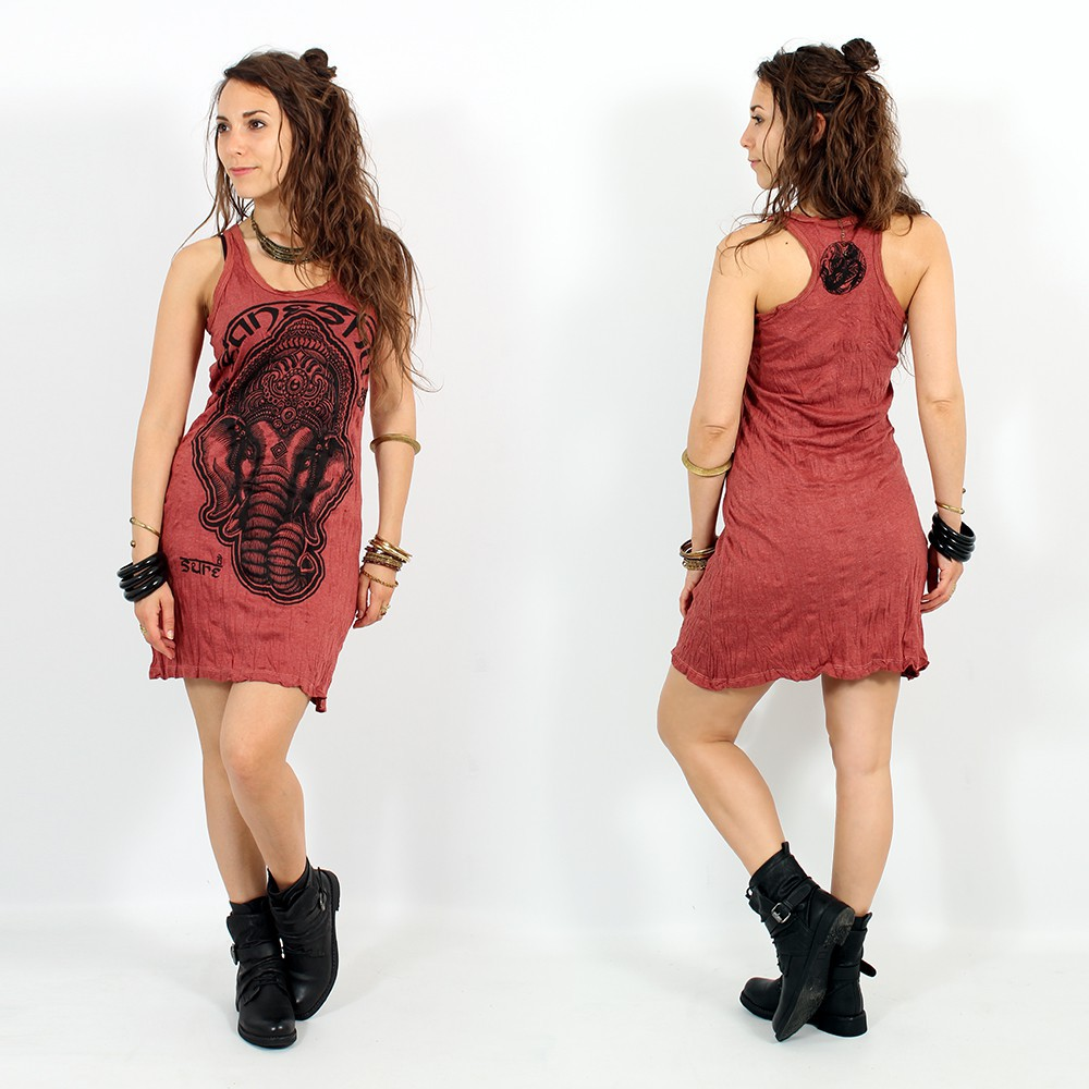 """Ganesh Face\"" dress, Dark red"