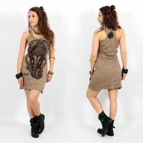 "\""Ganesh Face\\\"" dress, Light brown"