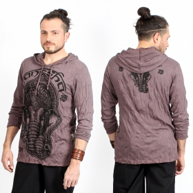 """Ganesh Face\"" hooded t-shirt, Brown"