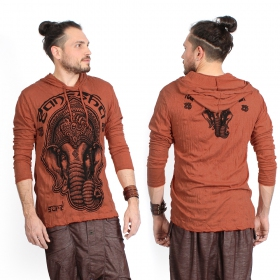 """Ganesh Face\"" hooded t-shirt, Orange"
