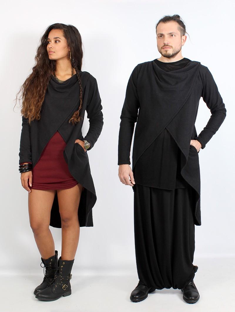 "Gender neutral - \""Shalin\"" long sleeved cardigan, Black"