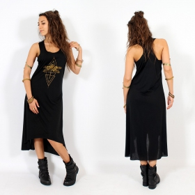 """Geometric Dragonfly\"" asymmetric dress, Black and gold"